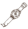 contour image of wrist compass isolated on white vector image