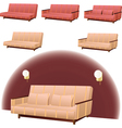 Sofa cream and red vector image