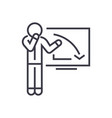 upset businessman graph down linear icon sign vector image