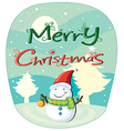 A christmas card with a snowman vector image vector image