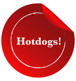 A red template with a hotdogs label vector image vector image