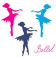 Ballerina silhoette set vector image
