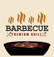 bbq premium grill banner with fire isolated vector image vector image