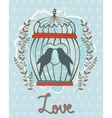 Beautiful love card with birds in cage vector image