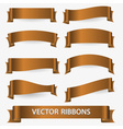 bronze various curved empty ribbon banners eps10 vector image vector image