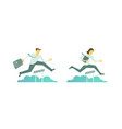 business steeplechase man woman jumps overcoming vector image