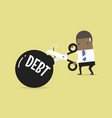 businessman cutting debt bomb vector image vector image