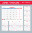 Calendar planner for 2018 year design print
