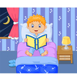 Cartoon lttle boy reading bed time story vector image vector image