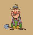 cartoon man gardener standing with a shovel in his vector image vector image