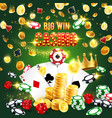 casino win poker aces dice chips and gold coins vector image vector image