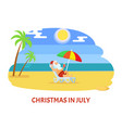 christmas in july relaxing holiday on beach vector image vector image