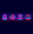 cinema night set neon sing label and logo cinema vector image vector image