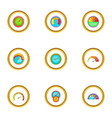 circular meter icons set cartoon style vector image