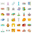 city architecture icons set cartoon style vector image vector image