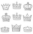 Collection sketch crown hand draw set vector image