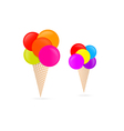 Colorful Ice Creams Isolated on White Background vector image