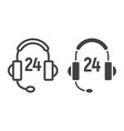 customer support line and glyph icon vector image