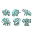 cute gray elephants with a pattern vector image vector image