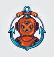 divers helmet and anchor logo vector image