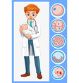 Doctor holding baby in his arms vector image vector image
