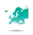 Europe map colorful turquoise on white isolated