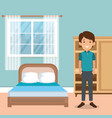 family parents in bedroom scene vector image vector image