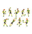 football players of one team with ball isolated vector image vector image