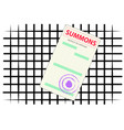 form of the summons on the background of iron bars vector image vector image