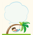 frame template with boy napping on tree vector image vector image