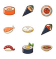 fresh fish icons set cartoon style vector image vector image
