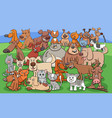 funny dogs and cats cartoon characters group vector image