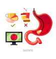 gastritis concept in flat style icon vector image vector image