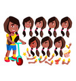 girl child kid teen black afro vector image