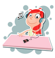 girl listening to music vector image