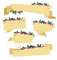 golden paper christmas berry banner collection vector image vector image