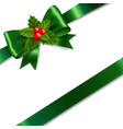 green bow with holly berry white background vector image vector image