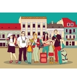 Group tourists people color in abstract city vector image