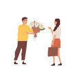 happy male character giving bouquet blooming vector image vector image