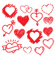 hearts set hand drawn vector image