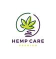 hemp cannabis care hand logo icon vector image