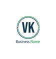 initial letter vk logo template design vector image