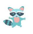kids print with funny raccoon hand drawn vector image vector image