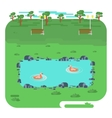 landscape with lake in park vector image vector image