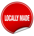 locally made round red sticker isolated on white vector image vector image