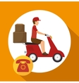 man courier service package telephone vector image