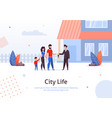 man selling or renting house to couple with child vector image vector image