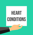 man showing paper heart conditions text vector image vector image