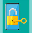 modern smartphone with padlock and key vector image