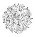 monochrome floral composition in round shape vector image vector image